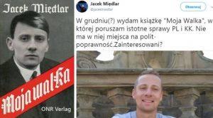 Вдясно туитът на Миендлар (вече изтрит) в който той обявява издаването на въпросната книга. Вляво–предложение за обложка на книгата разпространена в интернет от полски анархисти.