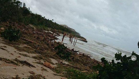 Така изглежда кът от плажа на прочутия курорт Варадеро след преминаването на стихията. Снимка: Cubadebate