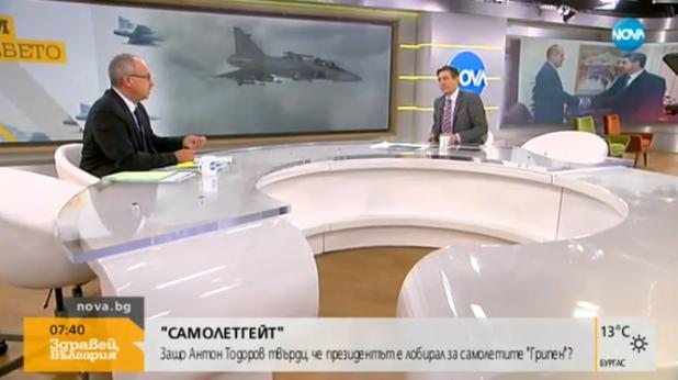 По време на предаването, когато Антон Тодоров заплаши в пряк ефир журналиста Виктор Николаев. Снимка: Nova