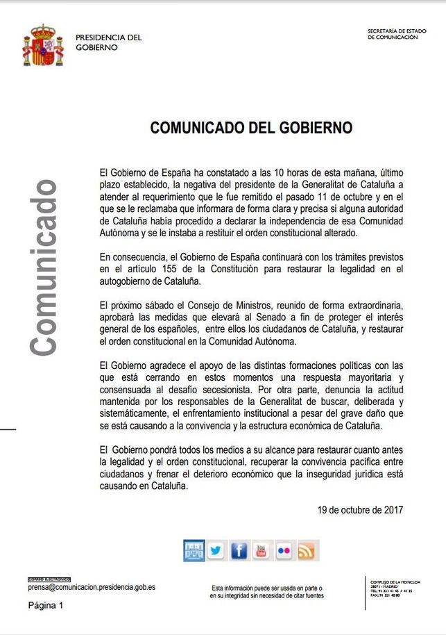 Комюникето на испанското правителство
