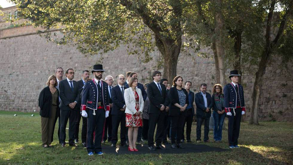 Каталунското ръководство по време на възпоменанието за Люис Компанис. Снимка: El Pais