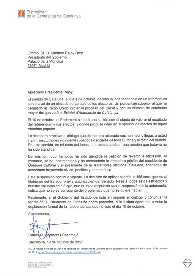 Писмото на Карлес Пучдемон до Мариано Рахой