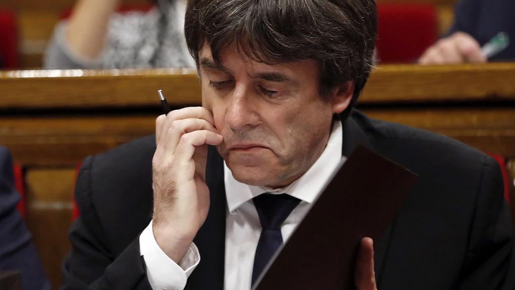 Карлес Пучдемон в парламента в Барселона на 10 октомври. Снимка: Vozpopuli