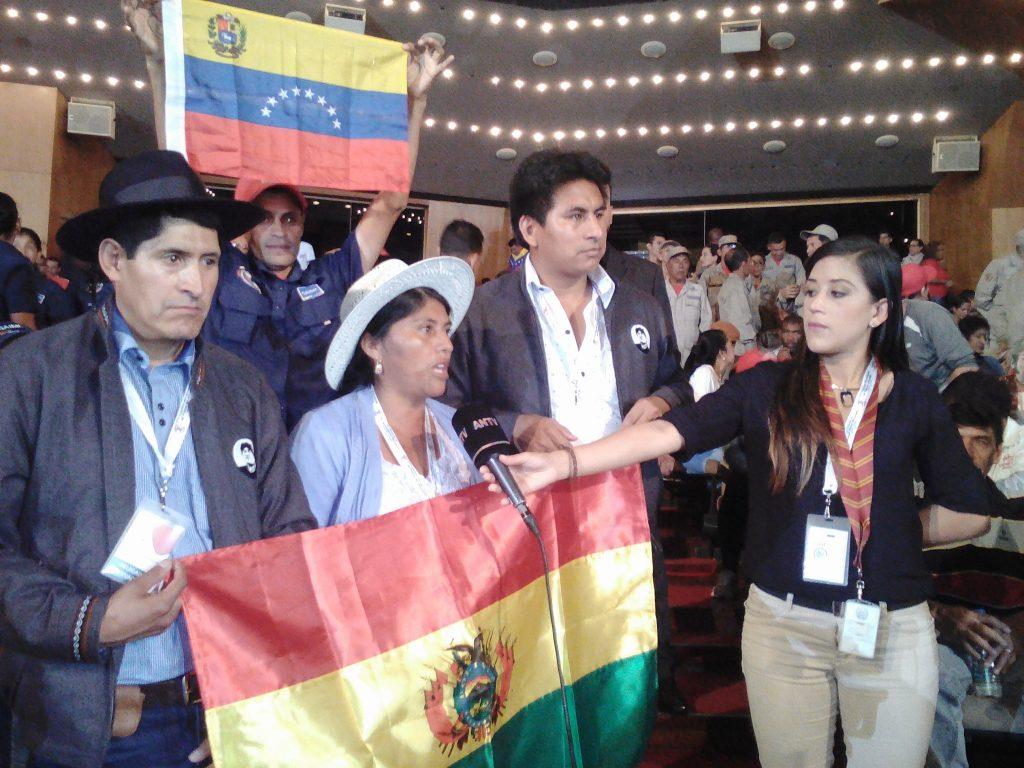В над 60-членната делегация от Боливия, преобладаваха синдикални активисти и миньори. Снимка: Къдринка Къдринова