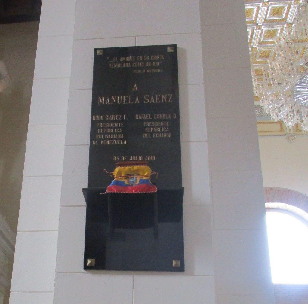 Урната със символичните останки на Мануела Саенс в Пантеона в Каракас. Снимка: Къдринка Къдринова