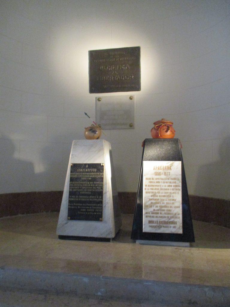В последните години в Пантеона бяха положени и герои на индианската съпротива срещу испанската конкиста–като предводителят на водени през 16-ти век сражения Гуаикайпуро и въстаничката Апакуана. Снимка: Къдринка Къдринова