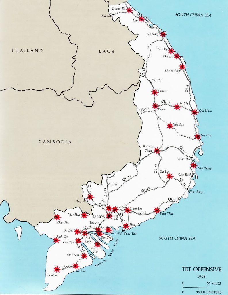 Карта на Южен Виетнам, на която с червено са отбелязани по-основните точки на ударите по време на офанзивата Тет през 1968 г. Илютрация: Уикипедия