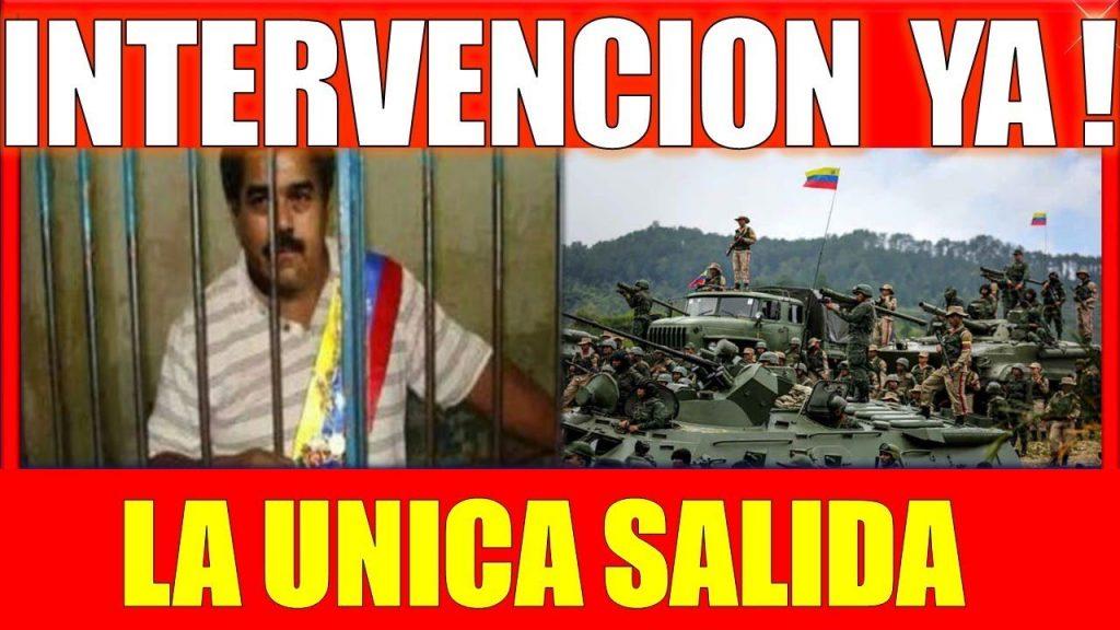 """Ето с такива плакати венесуелската опозиция се старае да подтикне армията в страната към преврат. """"Хайде, намеса! Единственият изход""""–пише на плаката. Снимка: YouTube"""