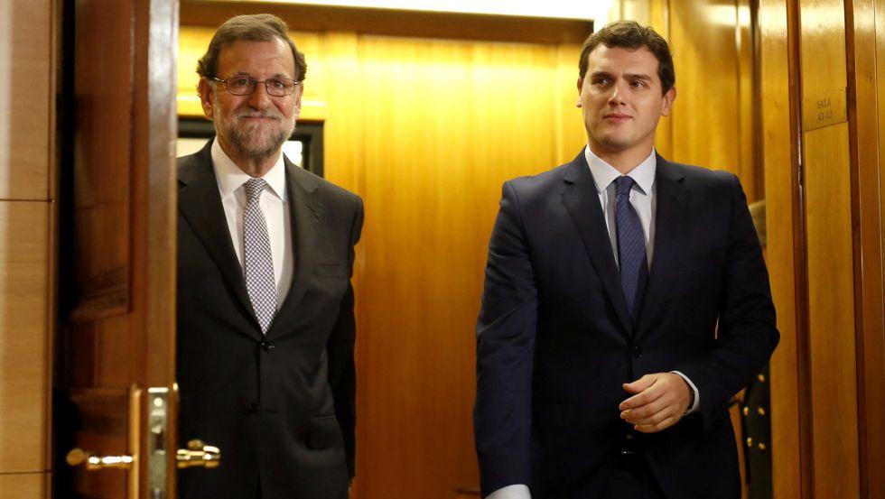 Мариано Рахой (вляво) и Алберт Ривера. Снимка: segundoenfoque