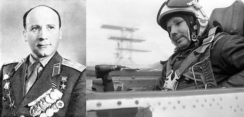 Владимир Серьогин (вляво) е бил определен за инструктор на Гагарин. На десния кадър първият космонавт се настанява като пилот в кабината на МИГ-15 УТИ. Снимка: Авиогоризонт