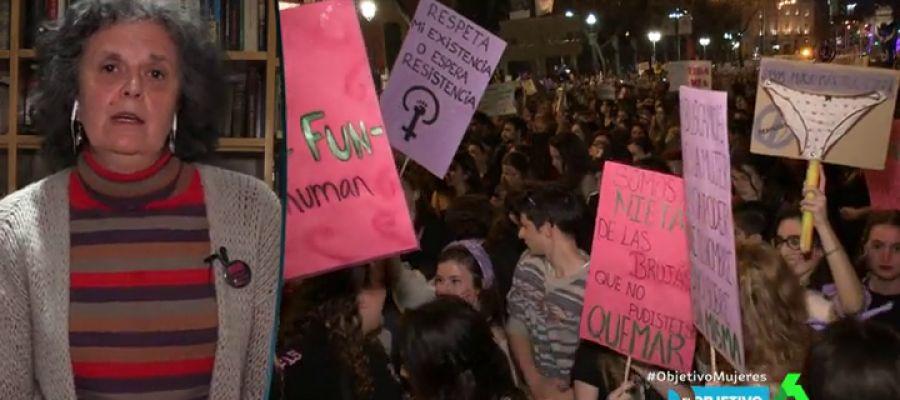 Хуста Монтеро (вляво) в кадър от телевизионен репортаж за подготвяната женска стачка. Снимка: La Sexta TV