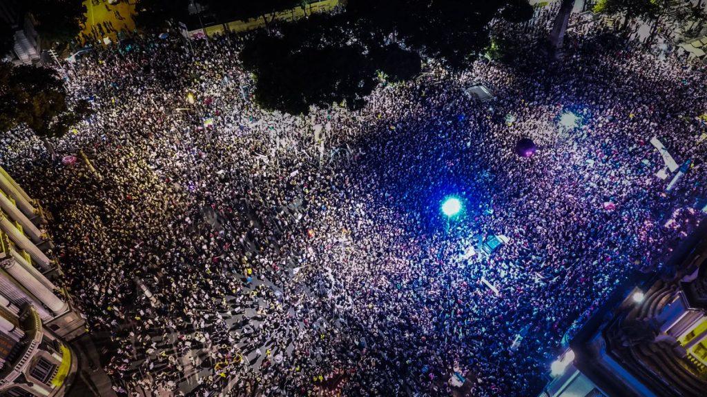 Демонстрацията в Сао Пауло събира хиляди хора. Снимка: Туитър