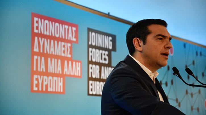 Гръцкият премиер Алексис Ципрас по време на изказването си. Снимка: left.gr