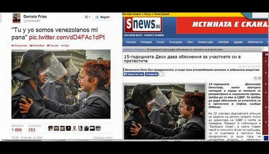 """""""Ти и аз сме венесуелци, приятелю""""–така казва нашата Деси на българския полицай, ако вярваме на снимката вляво, взета от Туитър. Източник: cazadebunkers"""