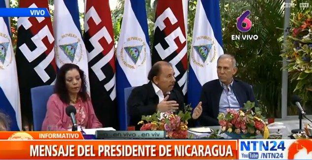 Президентът Даниел Ортега по време на изявлението, излъчено по телевизиите. Той го направи в компанията на представители на висшата държавна администрация, профсъюзите и предприемаческите обединения