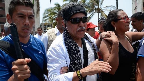 Преди ареста си Сантрич редовно участваше в народни шествия в подкрепа на мира в Колумбия. Снимка: infobae