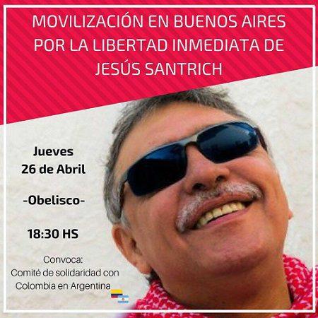 Афиш за шествието в подкрепа на Сантрич, състояло се на 26 април в аржентиската столица Буенос Айрес: Снимка: Resumen Latinoamericano