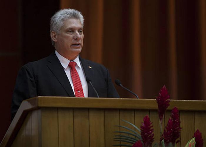 Мигел Диас-Канел по време на първата си реч като президент пред Националното събрание на Куба. Снимка: Granma