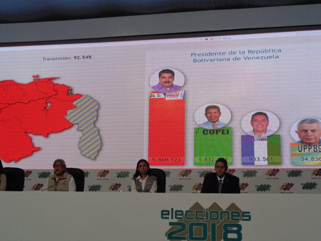 Председателката на CNE Тибисай Лусена (крайната вляво) обявява резултатите от вота. На графиката личат гласовете, получени от всеки от кандидатите. Снимка: Къдринка Къдринова