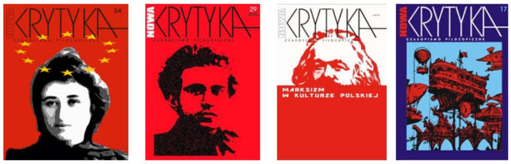 """Обложки на някои миналогодишни издания на списанието """"Нова Критика""""."""