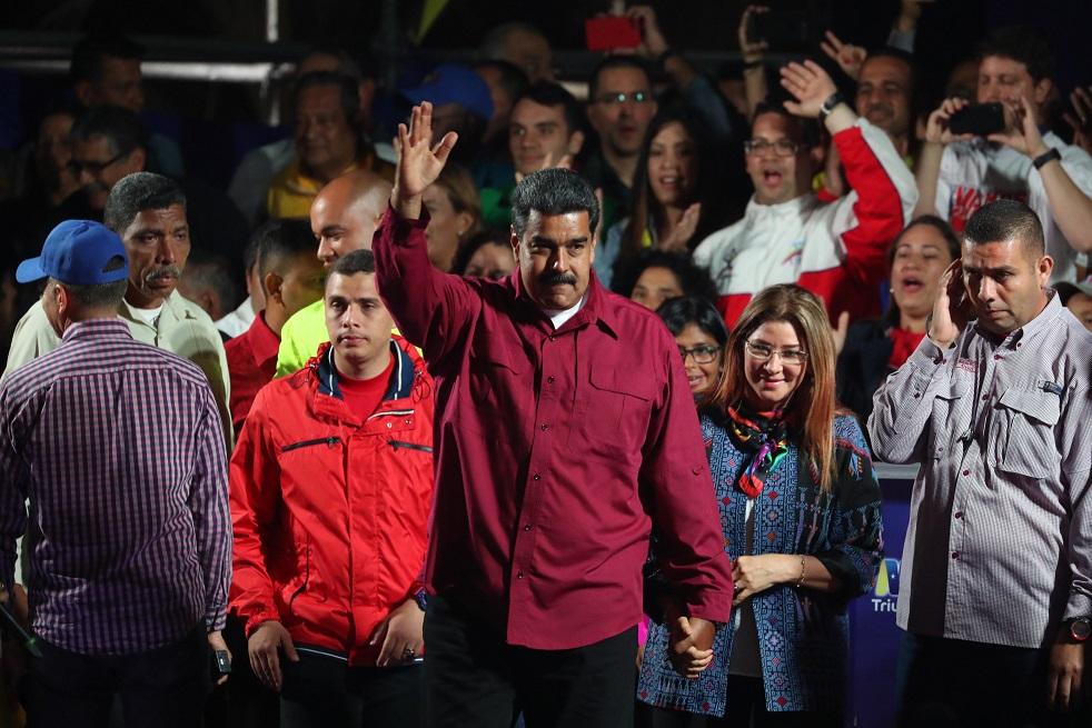 Новият-стар президент Николас Мадуро обеща общонационален диалог в речта си в изборната нощ. Снимка: EFE