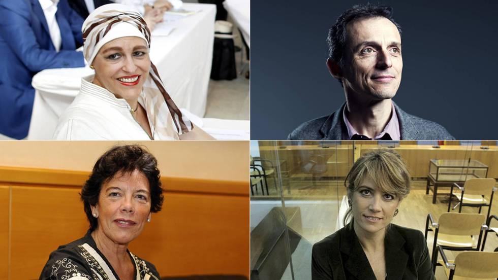 Днешните назначения в новото правителство на Испания–на горния ред са Магдалена Валерио и Педро Дуке, а на долния ред виждаме Исабел Селаа и Долорес Делгадо. Снимка: El Pais