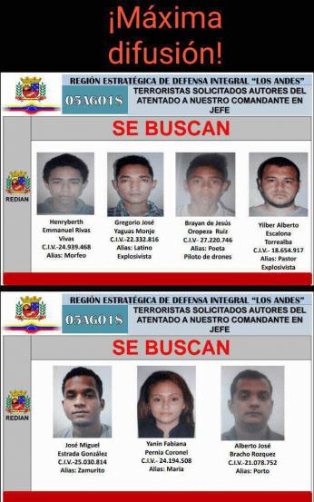 Листовката с обявените за издирване седмина извършители на атентата. Снимка: noticiasaldiayalahora.co