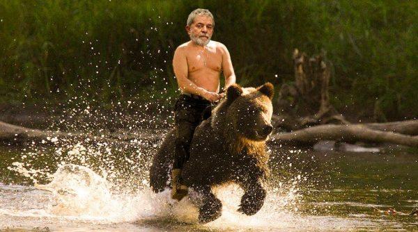 Хибрид между Путин и Лула, яхнал мечка–ето кой крои пъкления заговор! Снимка: Туитър