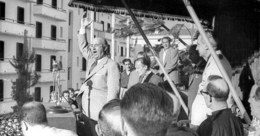 Франко държи реч през 50-те години на миналия век. Снимка: Wikimedia Commons