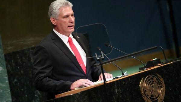 Мигел Диас-Канел по време на речта си пред Общото събрание на ООН. Снимка: Resumen Latinoamericano