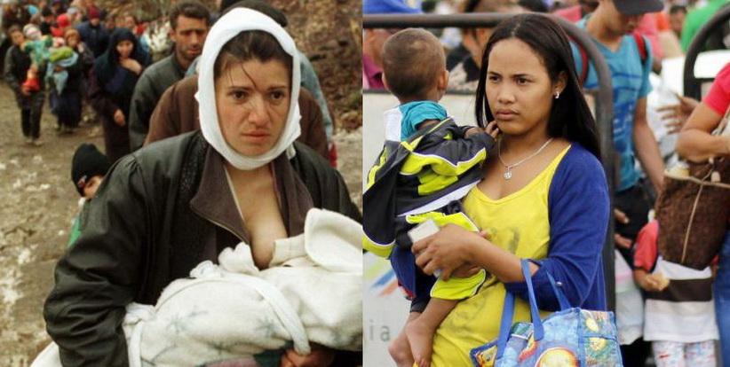 Снимките на косовските бежанци от 1999-та (вляво) удивително напомнят днешните кадри с венесуелски преселници (вдясно). Дали и войната отпреди две десетилетия ще се повтори в модифициран вариант на латиноамерикански терен? Снимки: Resumen Latinoamericano