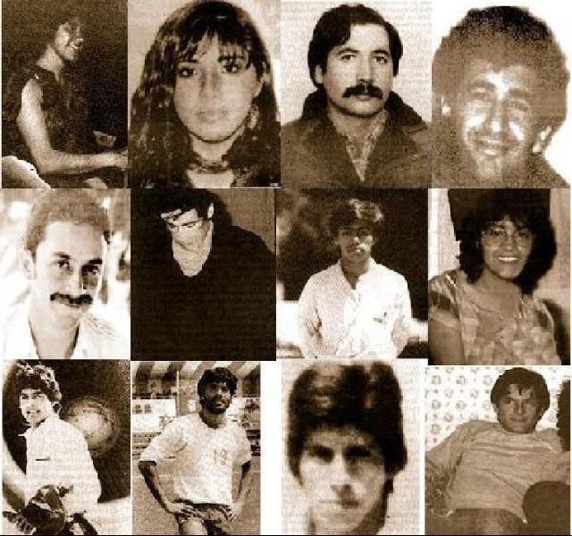 """Това са 12-те активисти на Патриотичния фронт """"Мануел Родригес"""" застреляни от агенти на CNI в средата на юни 1987 г. Хосе Хоакин Валенсуела Леви е първият отляво на втория ред. Снимка: Museo de la Memoria"""