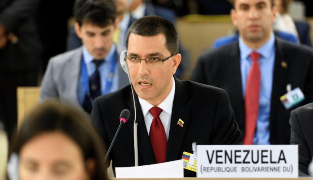 Венесуелският външен министър Хорхе Ареаса по време на изказването си на сесията на Съвета по правата на човека в Женева. Снимка: EFE
