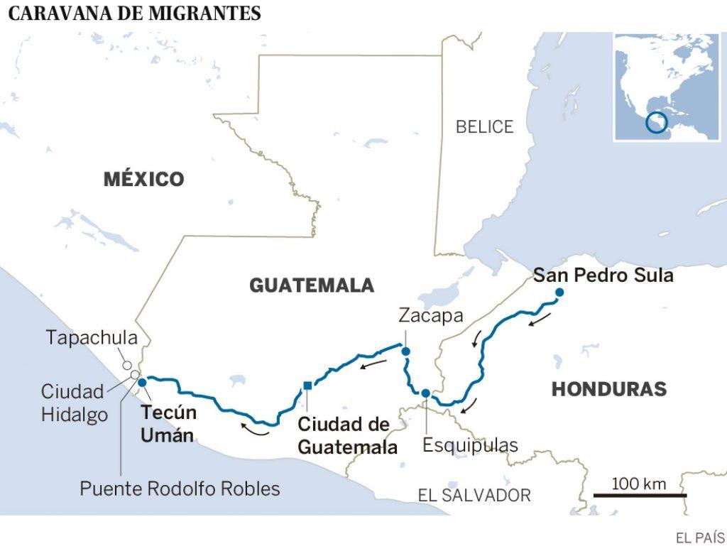 Ходът на лъча от шествието, тръгнал от хондураския град Сан Педро Сула. Графика: El Pais