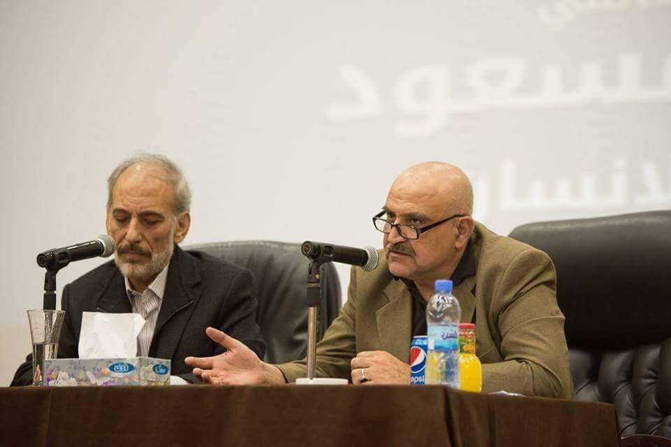 Проф.д-р Мохаммад Алахмад заедно с известния актьор Гассан Масоуд в съвместна лекция за Сирия. Снимка: архив на авторката