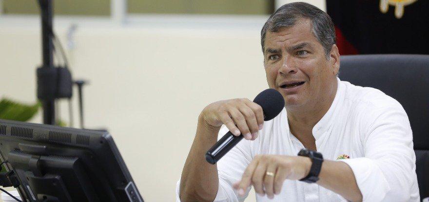 Рафаел Кореа даде през юли т.г. дистанционни показания от Белгия пред еквадорските съдебни по повдигнатите срещу него обвинения. Снимка: El Telegrafo