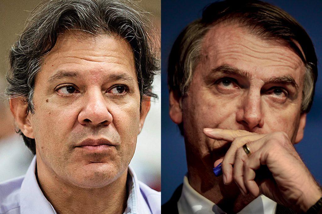 Сблъсъкът кой да води Бразилия е между левия Фернандо Хадад (вляво) и десния Жаир Болсонаро (вдясно). Снимка: Veja