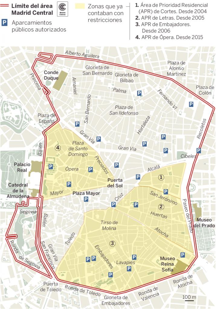 """На тази публикувана от испанския в. """"Ел Паис"""" карта е очертана зоната в центъра на Мадрид, за която важат новите мерки. В жълто са онези райони в нея, в които и досега имаше ограничения за автомобилния трафик."""
