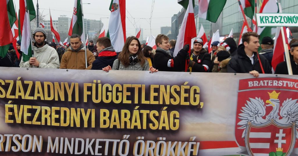 """Активисти на унгарската ксенофобска партия """"Йобик"""" са дошли да подкрепят полските си съидейници. Снимка: El Pais"""