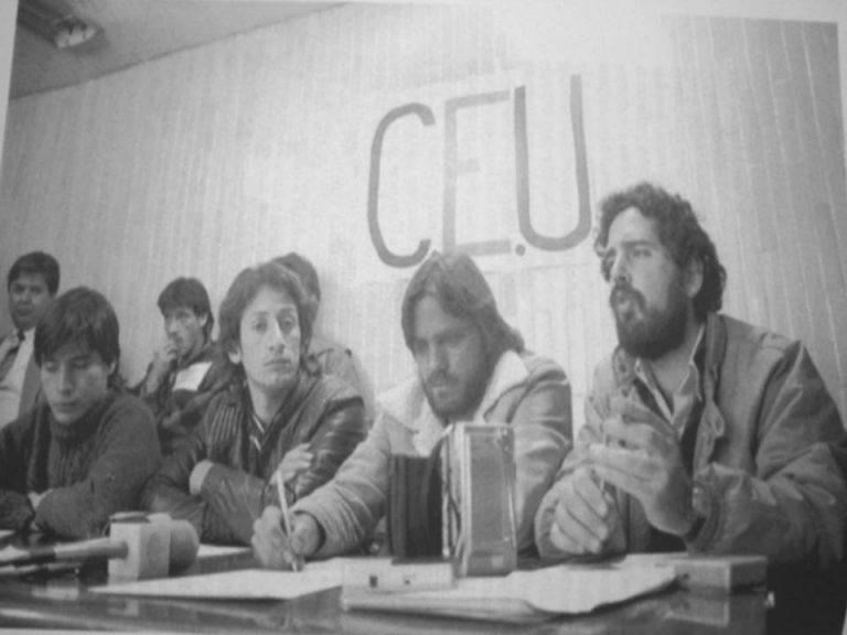 Карлос Имас Хисперт (вторият отдясно) по време на студентските борби. Снимка: elbigdata.mx