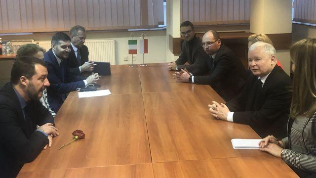 Матео Салвини и Ярослав Качински по време на разговора им във Варшава. Снимка: tvn24