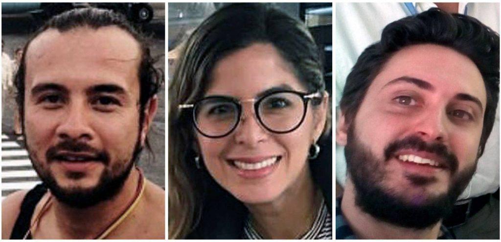 Журналистите от EFE Леонардо Муньос, Маурен Барига и Гонсало Домингес. Снимка: EFE