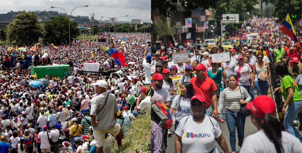 Опозиция (вляво) и чаависти (вдясно) премериха силте си на 23 януари с масови шествия и митинги. Снимка: El Luchador