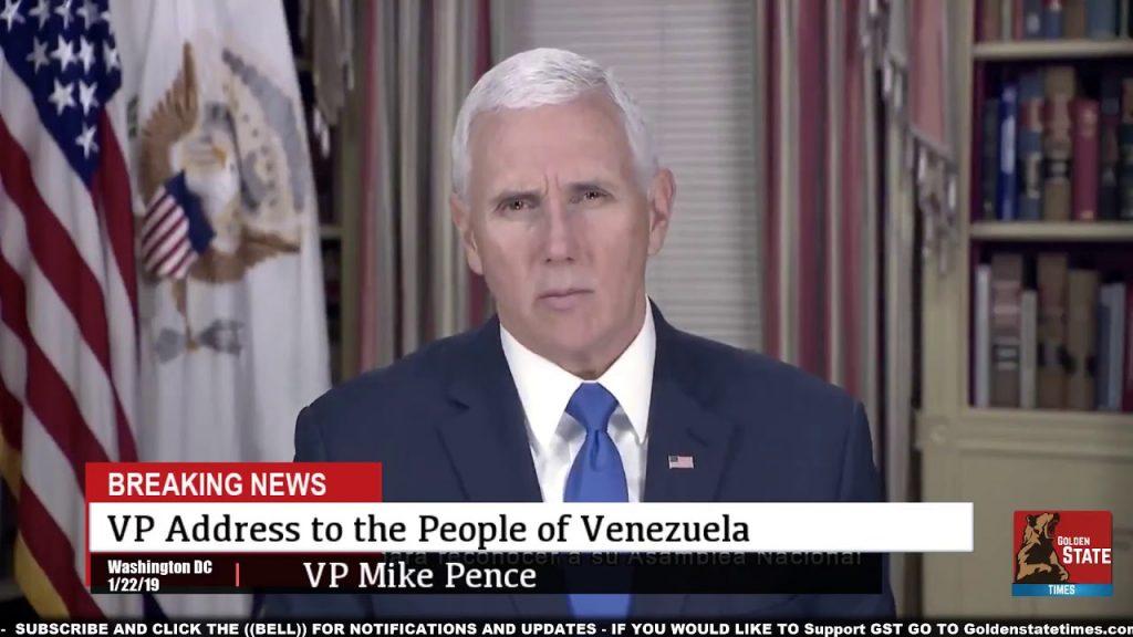 Майк Пенс по време на обръщението си към венесуелците. Снимка: YouTube