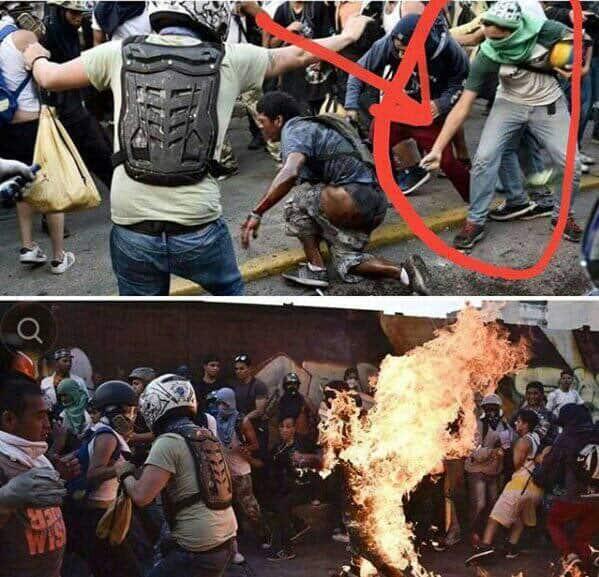 Кадри от трагедията на 21-годишния Орландо Фигера, пребит и подпален жив от опозиционни демонстранти в Каракас на 20 май 2017 г., защото им заприличал на чавист. По-късно момчето почина от раните си. Снимка: Туитър