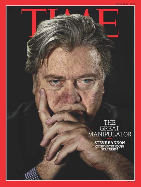 """Корицата на """"Тайм"""", от която Банън е провъзгласен за """"великия манипулатор"""""""