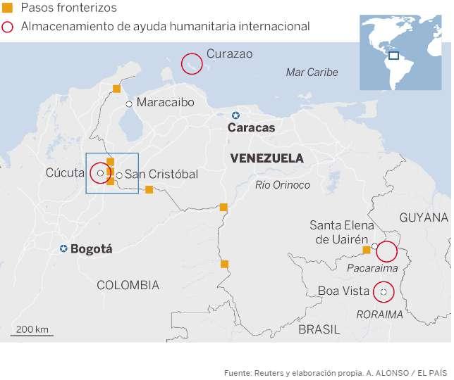 На тази карта от испанския вестник El Pais са отбелязани невралгичните зони по границите на Венесуела с Колумбия и Бразилия, както и проблематичният карибски остров Кюрасао