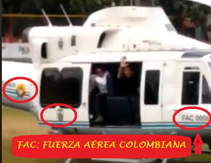 Кадър с колумбийския военен хеликоптер, който взима Хуан Гуайдо от Венесуела, за да го откара в Колумбия. Снимка: Фейсбук