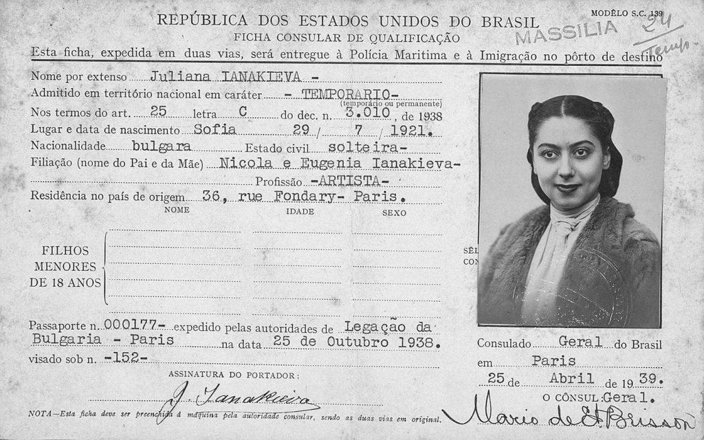 Цветана Янакиева – прима балерината на Teatro Municipal de Rio de Janeiro от началото и средата на 40-те години на ХХ век