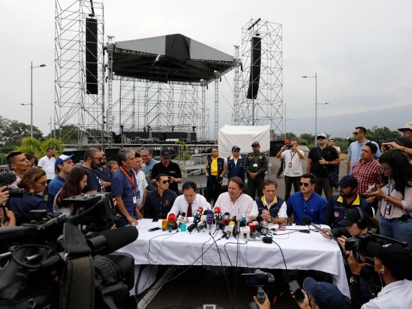 Организаторите на концерта Venezuela Aid Lve дадоха пресконференция преди началото му. Снимка: El Tiempo